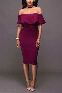 Roaso Off The Shoulder  Wine Red Dress - ROASO - 1