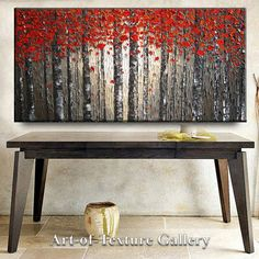Huge 72 x 30 Custom Oil Impasto Painting Original Texture Modern Tree Birch Fall Red Beige Gray White Sculpture Knife Painting by Je Hlobik
