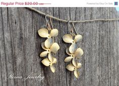 New Year Sale Gold Orchid Earrings  Gold Dangle by ReinaJewelry, $16.00