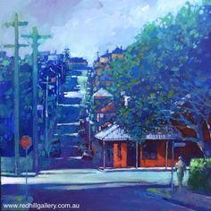 David Hinchliffe 'Charlotte and Martha Streets' 61x61cm.  61 Musgrave Road, Red Hill Brisbane, QLD, Australia. art@redhillgallery.com.au