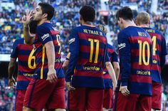 Luis Suarez (L) of FC Barcelona celebrates after scoring his team's second goal during the La Liga match between FC Barcelona and Real Sociedad de Futbol at Camp Nou on November 28, 2015 in Barcelona, Catalonia.
