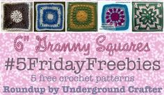 "Roundup of free crochet patterns for 6"" (15 cm) granny squares on Underground Crafter"