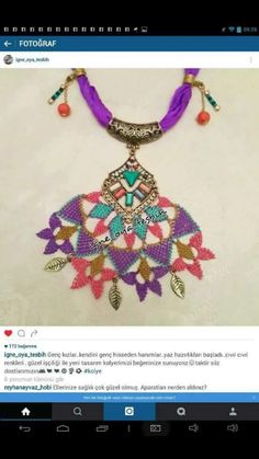 U Diy And Crafts, Arts And Crafts, Needle Lace, Crochet Accessories, Shades Of Purple, Knots, Crochet Necklace, Beads, Jewelry