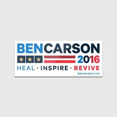 "Lot of 5 Ben Carson bumper stickers /""2016 Heal+Inspire+Revive/"" FREE SHIPPING"