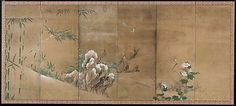 Kano Sanboku (Japanese, 17th–early 18th century). Flowers and Birds of the Four Seasons, late 17th century. The Metropolitan Museum of Art, New York. Purchase, Friends of Asian Art Gifts, 1999 (1999.204.1, .2) | The left screen depicts autumn and winter, represented by hibiscus and snow-dotted bamboo; a kingfisher and pheasants herald these seasons. #snow