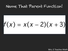 Name That Parent Function! - Name That Parent Function! An quick activity to help students recognize parent functions – downlo - Math Lesson Plans, Math Lessons, Math Teacher, Teaching Math, Secondary Math, Trigonometry, Algebra 1, Co Parenting, Students