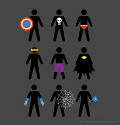 Superhéroes minimalistas. Ilustración por Chow Hon Lam.