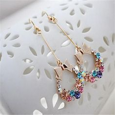 New Fashion Jewellry Imitation Diamond Colorful Rhinestone Bow Dangle Earrings