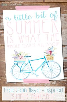 Free Summer Printable   8x10 Instant Download   Inspired by John Mayer's Wildfire Lyrics