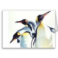 "best 100 watercolor astists | Penguin Trio"" Wildlife Watercolor Art Greeting Card"
