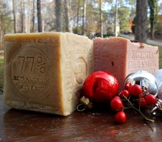 Greek Olive Oil Soap and Geranium Soap Limited Edition Soaps for the Christmas Holidays or Just decorative soap, custom hand stamped. share with #Christmas @december