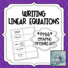 Writing Linear Equations - Graphic Organizer!