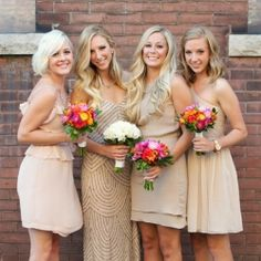 Love the coloured dress trend but on a budget? Try these gorgeous options from Elliot Claire & Adrianna Papell (Pic via Wedding Chicks)
