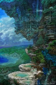 Fantastic illustrations from some of the best illustrators in the world. From beautifully drawn prints, to inspirational typographic quotes. Landscape Concept, Fantasy Landscape, Landscape Art, Environment Concept, Environment Design, Fantasy Places, Fantasy World, Yuumei Art, Fotografia Macro