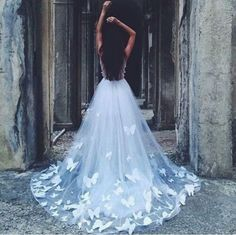 Dress: butterfly white transparent long sheer wedding bubbles butterfly hippo fantasy