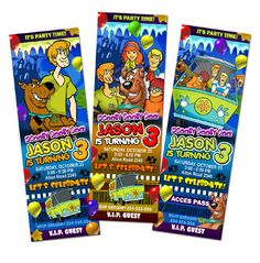 scooby doo birthday invitation ticket party invites printable 1st first custom card digital file