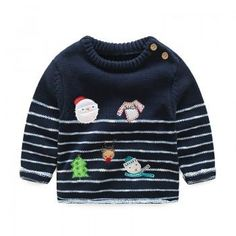 Adorable  Christmas Patterned Striped Knit Sweater for Baby and Toddler Boys