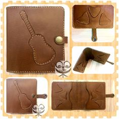 Leather Bifold Wallet, Cow Leather, Stay Tuned, Initials, Guitar, Facebook, Button, Twitter, Handmade