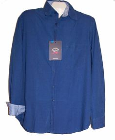 Paul & Shark Yachting AUTHENTIC Blue Jeans Men's Italy Shirt Sz L  #PaulSharkYachting #ButtonFront