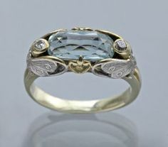 This is not contemporary - image from a gallery of vintage and/or antique objects. ART NOUVEAU Butterfly Ring Two Colour Gold Aquamarine Diamond Bijoux Art Nouveau, Art Nouveau Jewelry, Jewelry Art, Antique Jewelry, Jewelry Gifts, Vintage Jewelry, Jewelry Accessories, Jewelry Design, Gold Jewelry