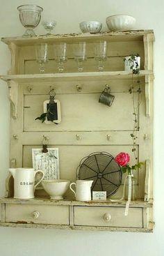 Old door to shelves