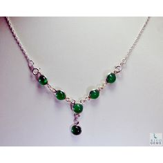 Riyo Small Green Onyx 925 Solid Sterling Silver Green Necklace Sngaon-30001