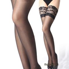 1Pcs Hot Sheer Sexy Ladies Women's Tights Slim Stockings Lace Top Sheer Stay Up Thigh High Stockings Pantyhose Female