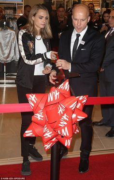 I declare this store open: Cara Delevingne was on hand to officially open a sprawling new H&M store at Westfield World Trade Center in New York City on Thursday afternoon