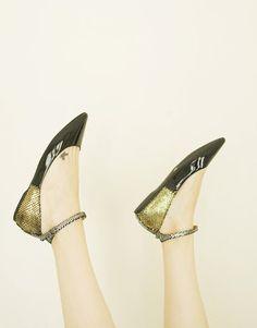 black + gold ballet flats