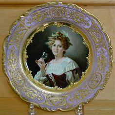 "Dresden Cabinet Plate Royal Vienna Style Titled ""Rheinwein"" Signed Zickendraht"