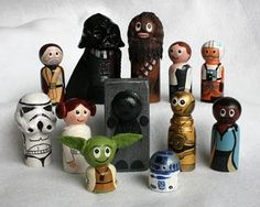 Great idea:: if you are crafty you can get the wooden doll pins, paints & brushes and make these yourself. Would make awesome holiday gifts!