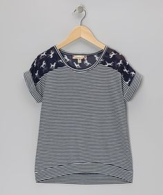 Take a look at this Speechless Navy & Ivory Horse Stripe Top on zulily today! For Addie Cute Outfits With Leggings, Crop Top Outfits, Mom Outfits, College Outfits, Shirt Alterations, Blouse Styles, Stripe Top, My Style, Clothes