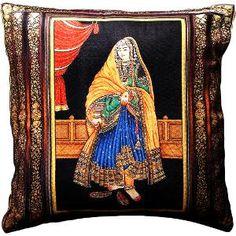 Aapno Rajasthan Rajasthani Lady Velvet Cushion Cover - CC1387 - Rs. 295