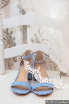 Blue wedding shoes - bride, bridal, heels, open toe, fall, autumn, rustic, something {Ward Photography}