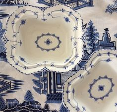 PAIR of Antique Allerton's Stockholm Blue