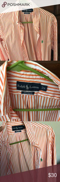 Polo Ralph Lauren - Long sleeve button down Excellent condition, only worn once! Size small, custom fit. Orange and white vertical stripes with green rider. Too small for me. Polo by Ralph Lauren Shirts Dress Shirts
