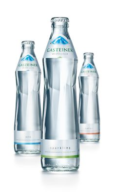 Rebranding for Gasteiner Mineral Water (Grey Swell Bottle) Water Packaging, Water Branding, Bottle Packaging, Juice Packaging, Water Bottle Design, Water Bottle Labels, Pet Bottle, Label Design, Packaging Design