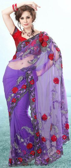 Net - Purple - Indian Saree: Online Saree Shopping Made Easy With Latest Designs at Utsav Fashion Beautiful Saree, Beautiful Dresses, Nice Dresses, Fancy Sarees, Party Wear Sarees, Indian Dresses, Indian Outfits, Indian Clothes, India Fashion