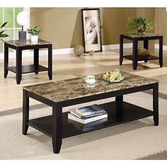 Coaster 3pc Coffee Table & End Table Set Faux Marble Top Espresso Finish  http://www.furnituressale.com/coaster-3pc-coffee-table-end-table-set-faux-marble-top-espresso-finish/