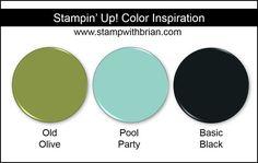 Stampin' Up! Color Inspiration: Pool Party, Old Olive, Basic Black