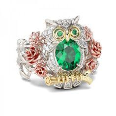 Jeulia Three Tone Flower Oval Cut Created Emerald Owl Ring #affiliate