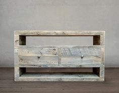 Reclaimed Solid Wood Media Console, Two Drawers - Free Shipping - JW Atlas Wood Co.