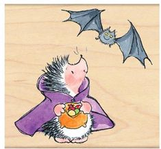 Penny Black Count Hedgula (Halloween) - Wood Rubber Stamp. A Halloween-themed Penny Black wood stamp featuring a hedgehog dressed up as Count Dracula, with a ba