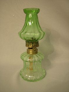 Antique Miniature Oil Lamp, Light Green Glass And Shade, Hornet Burner The  Semprini Collection