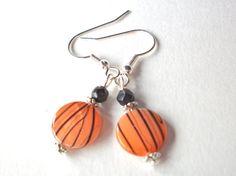 Orange black halloween earrings tiger jewelry round by StarJewels, $8.00