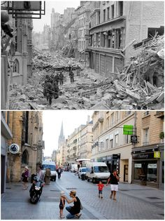 1- July 1944: Canadian troops patrol along the destroyed Rue Saint-Pierre after German forces were dislodged from Caen  2- Shoppers walk along the rebuilt Rue Saint-Pierre in Caen.