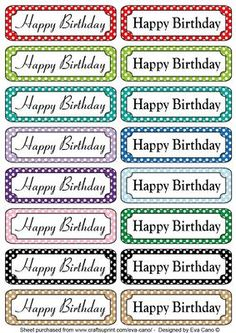 Happy Birthday tags 2 on Craftsuprint designed by Eva Cano - 16 horizontal tags for Female and Male Birthdays in different colours to add to your cards. Please have a look at my other designs by clicking on my name. - Now available for download!