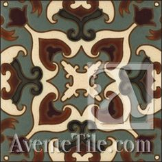 """Malibu Carrillo A - 6""""x6"""" Hand Painted Ceramic Tile"""