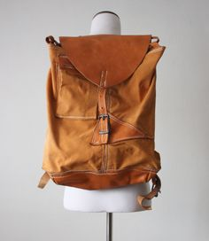 vintage canvas and leather backpack.