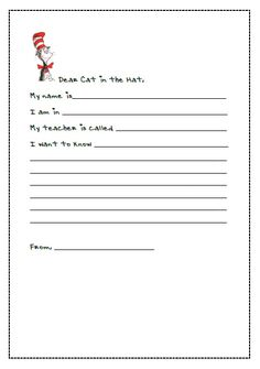 very simple Dr Seuss  Themed Letter Writing Templates.